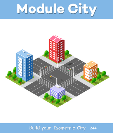 Colorful 3D isometric module is an area for constructing the design and construction of dimensional city for creativity and conceptual presentation. Skyscrapers, houses and streets of urban landscape