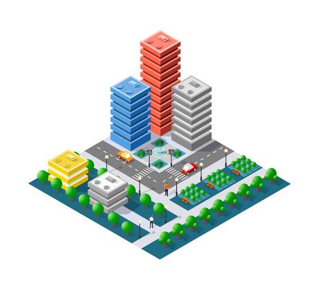 Colorful 3D isometric city illustration.