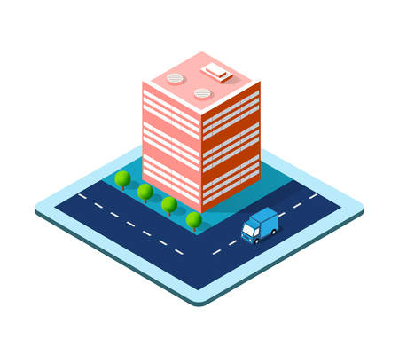 Colorful 3D isometric icon city of skyscrapers
