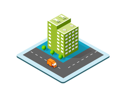 Colorful 3D isometric city Vector illustration.