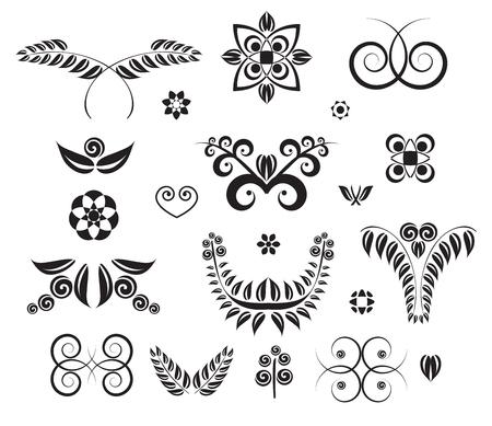 Set of design elements curls, spirals, banner and squiggles.
