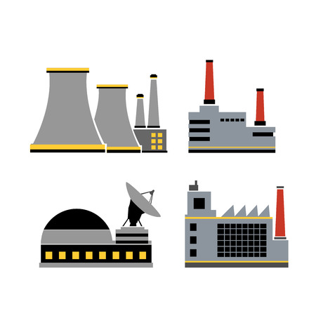A set of design industrial elements of an city factory building and factories. Vettoriali