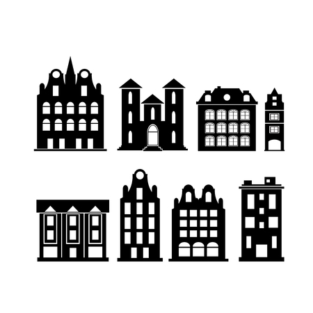 A set of design city elements Vector illustration. Vettoriali