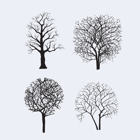 Set of tree silhouettes for design, scrapbooking, collage and creativity