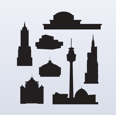 Set of silhouettes of high-rise skyscrapers for design, scrapbooking, collages and creativity