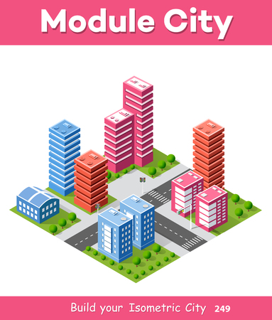Colorful 3D isometric city of houses and street of the urban multicolored landscape