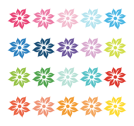 Colorful set of floral design elements silhouettes
