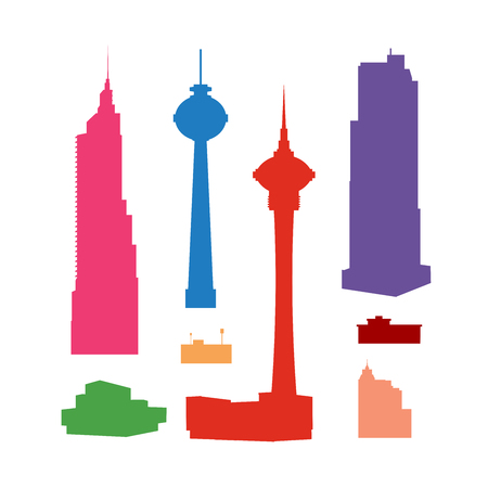 Set of colorful silhouettes of high-rise skyscrapers for design, scrapbooking, collages and creativity Vettoriali