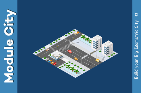 Isometric module of the modern 3D city. Winter landscape snowy trees, streets. Three-dimensional views of skyscrapers, houses, buildings and urban areas with transport roads, intersections Vettoriali