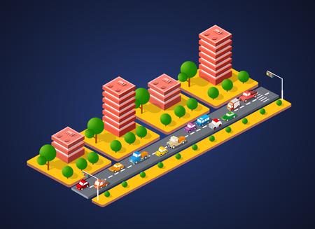 City landscape 3D colorful.