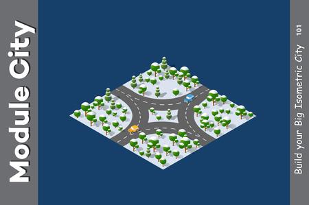Landscape speed highway, Module City illustration.