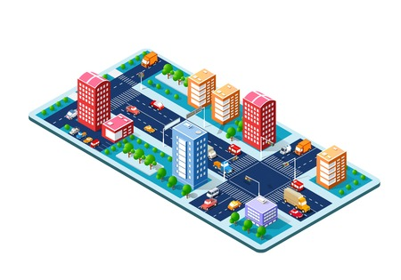 Colorful 3D isometric city.