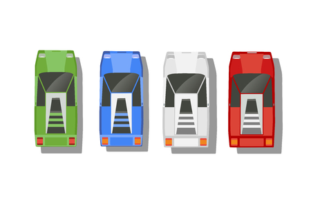Top view of a set of cars.