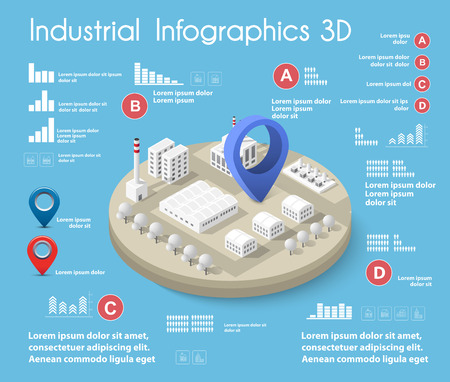Industrial graphic information with city isometric illustration.