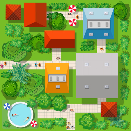 Top view of the colorful village