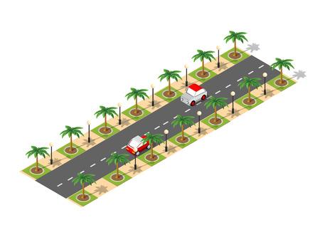 Road isometric 3D design Illustration