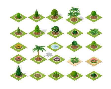 Set di alberi e piante icona design Vettoriali