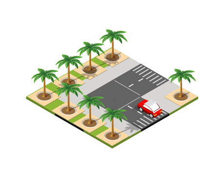 Road isometric 3D city street with cars, trees, urban infrastructure Illustration