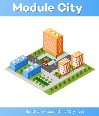 City isometric 3D intersection Illustration