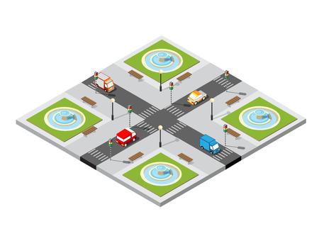 City isometric 3D intersection  イラスト・ベクター素材