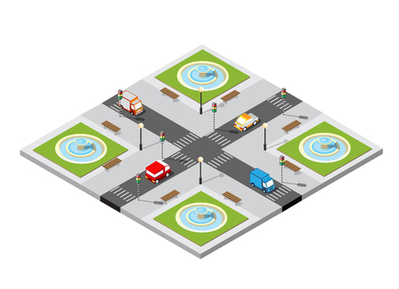 City isometric 3D intersection Illustration