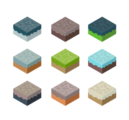 A set of isometric terrain cubes for modeling games and application design Imagens - 99086726