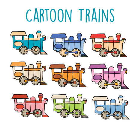 Cartoon locomotive retro train sketch drawing of children s flat style set