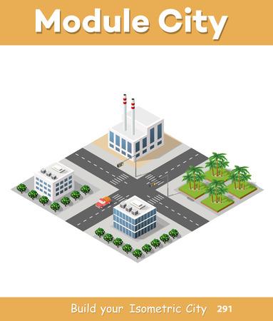 Set of isometric skyscrapers street Illustration