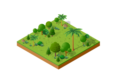 Isometric 3D set park with tress vector illustration.