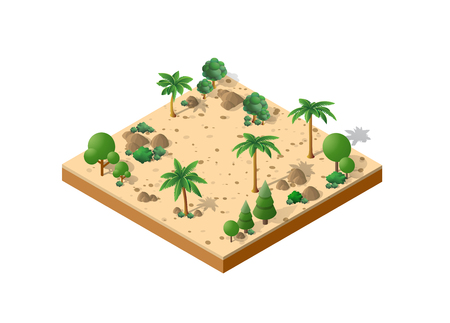 Isometric 3D park with tress vector illustration.
