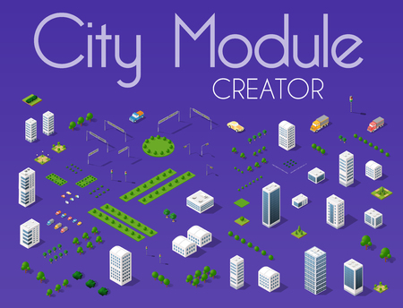 City module creator isometric concept of urban infrastructure business. Vector desert natural landscape and collection of urban elements architecture, home, construction, block and park Vettoriali