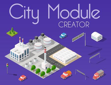 Concetto isometrico del creatore del modulo di città del business delle infrastrutture urbane. Vector il deserto paesaggio naturale e la raccolta di elementi urbani architettura, casa, costruzione, blocco e parco