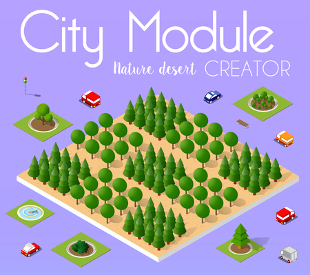 Isometric view of a city town in the desert natural landscape  イラスト・ベクター素材