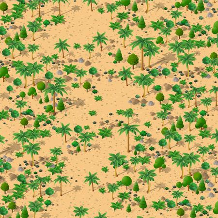 Paysage naturel isométrique de palmiers, illustration vectorielle d'un désert de sable, de pierres et de buissons. Graphiques 3d conceptuels pour l'arrière-plan.