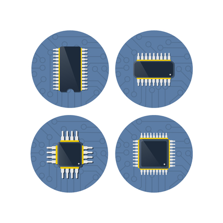 Chip device of technology electronic microchip microcircuit processor circuit microprocessor of computer tech hardware. Vektorové ilustrace