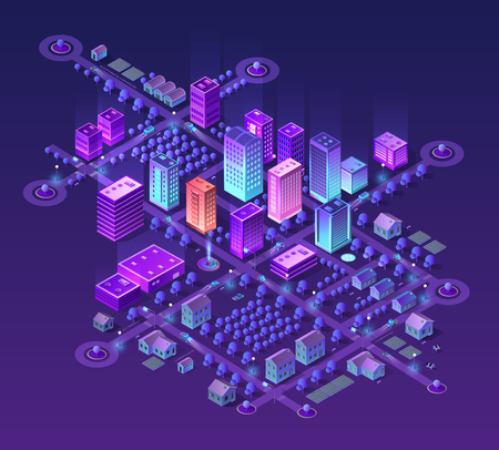 Isometric city set of violet colors 3d building modern town street, urban road architecture. Ultraviolet illustration map of isometry for the business design concept. Vector Illustration