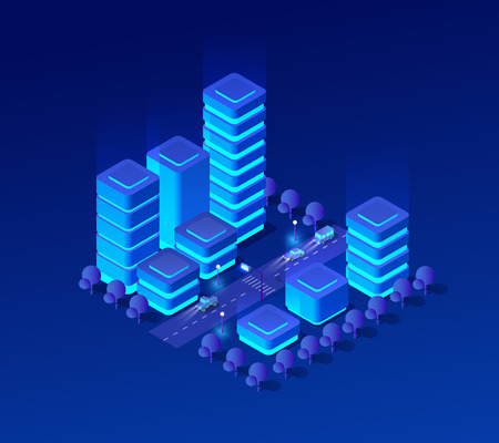 Isometric city set of violet colors 3d building modern town street, urban road architecture. Ultraviolet illustration map of isometry for the business design concept. Illustration