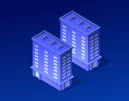 Isometric city of violet colors 3d building modern town street, urban road architecture. Ultraviolet illustration map of isometry for the business design concept.