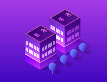 Smart city of ultraviolet style neon design from a skyscraper street building infographic business concept. Isometric Banque d'images - 111538191