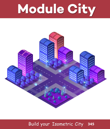 Isometric ultra city concept of violet style, an ultraviolet 3d modern design of urban street of a skyscraper Illustration