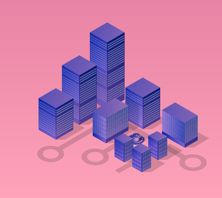 Isometric ultraviolet city of violet colors 3d building modern town street, urban road architecture. Vector illustration map of isometry for the business design concept.
