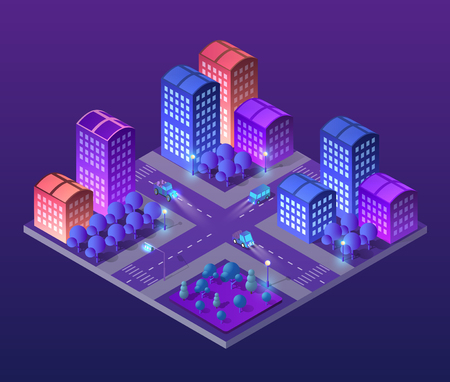Isometric ultra city concept of violet style, an ultraviolet 3d modern design of urban street of a skyscraper 向量圖像