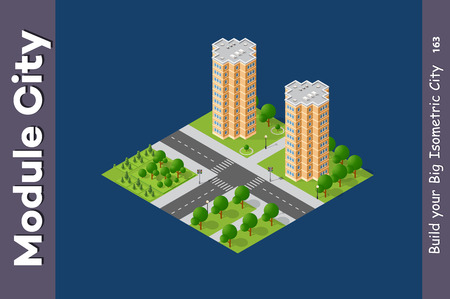 Set of modern isometric buildings and plants for sites and games Illustration