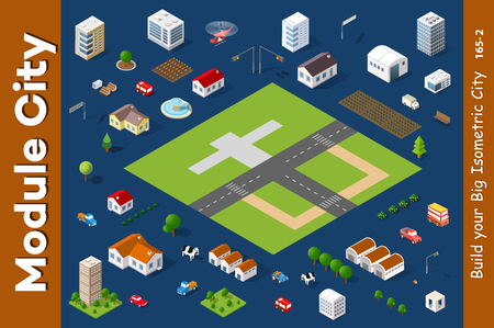A set of isometric houses and cottages for a ranch and a countryside village township town.