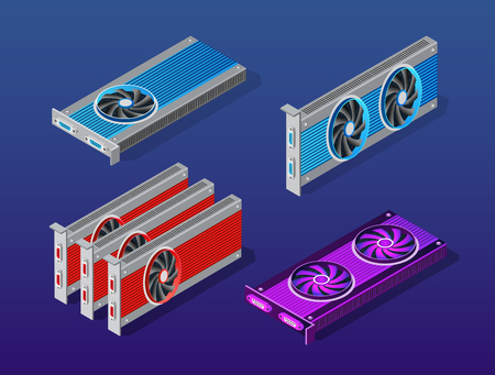 Video card set of mining bitcoin on digital technology video cryptocurrency blockchain business. The component of electronic equipment high-tech industry isometric graphics component. 일러스트
