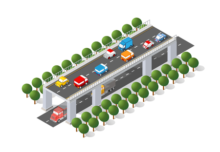 The bridge skyway of urban infrastructure is isometric for games, applications of inspiration and creativity. City transport organization objects in 3D dimensional form