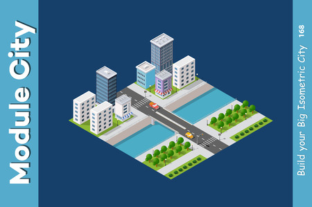 Vector isometric urban architecture building of modern city with street, skyscraper, and town, house. For business illustration and construction map shape background Banque d'images - 111538258