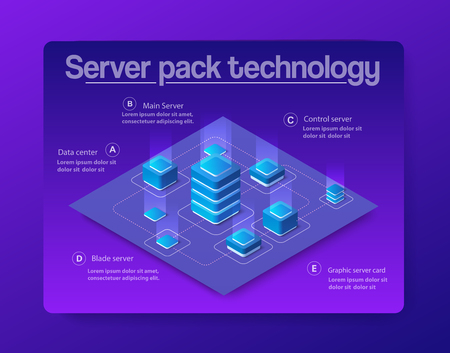 The server room data digital system concept for cloud processing and network datacenter computer. Security center communication equipment. 3d vector isometric illustration ultraviolet abstract