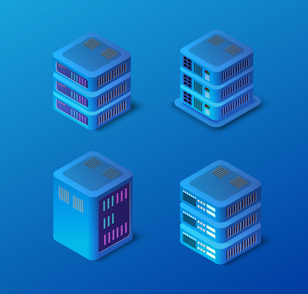 3d server set network technology of connection data center computing farm. Cloud database computer datacenter. Vector modern networking electronic background