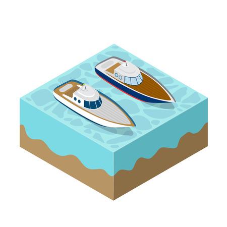 Isometrische Yacht eines Seekreuzfahrtbildes einer Transportkreuzfahrtreise des Tourismus.